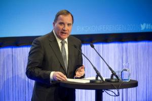 Statsministern håller presskonferens. Foto: Ulf Palm.