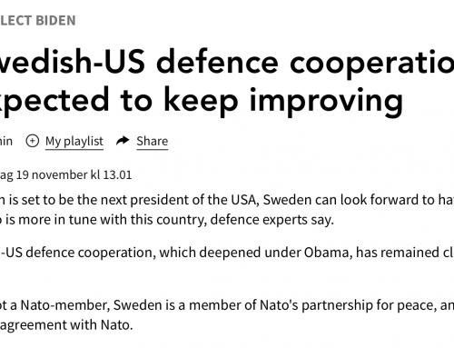 Anna Wieslander intervjuad i Sveriges Radio om svenskt-amerikanskt försvarssamarbete