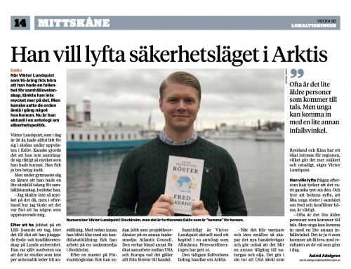 Viktor Lundquist i Lokaltidningen Mittskåne