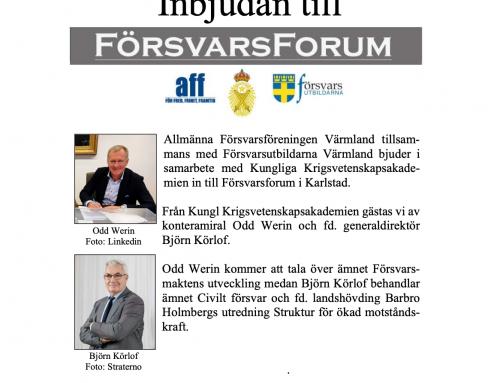 Inbjudan till Försvarsforum 18 oktober